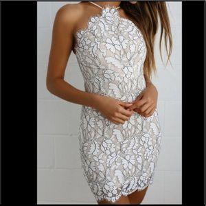 Lulu's Delicate Darling Beige Ivory Lace Dress